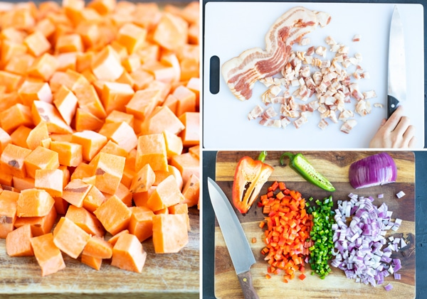 Three pictures in a collage showing you how to cube sweet potatoes, the size to cut bacon, and how finely to dice vegetables for a breakfast hash recipe.