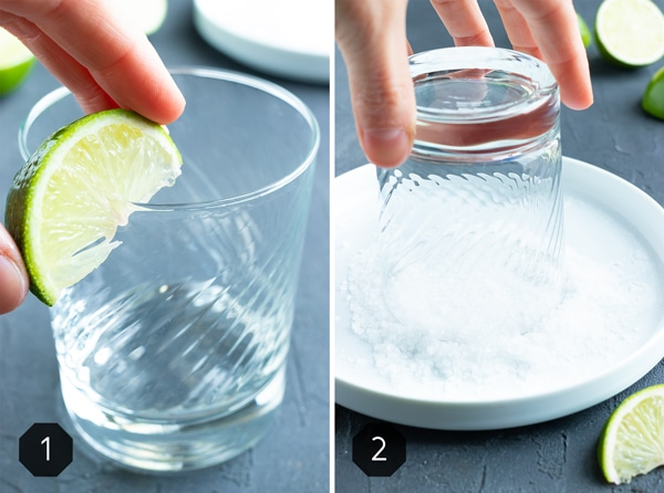 Two pictures demonstrating how to make a salted rim with a lime wedge and coarse sea salt.