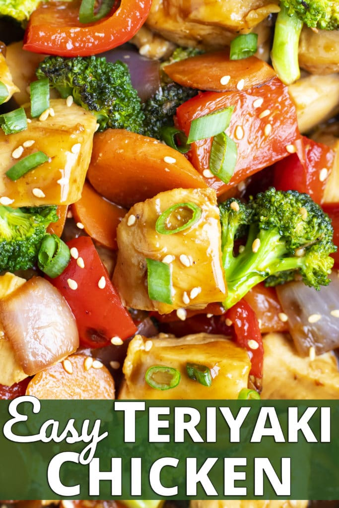 Teriyaki chicken stir-fry with red bell pepper, carrots, broccoli, and red onion.