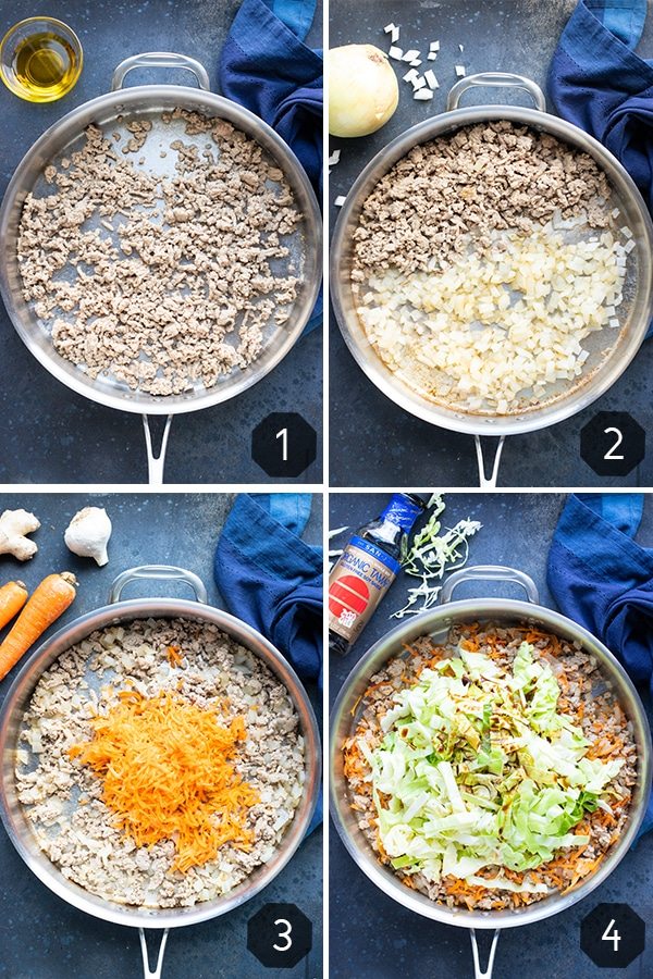 Four images showing how to make an egg roll in a bowl recipe for a 30-minute dinner.