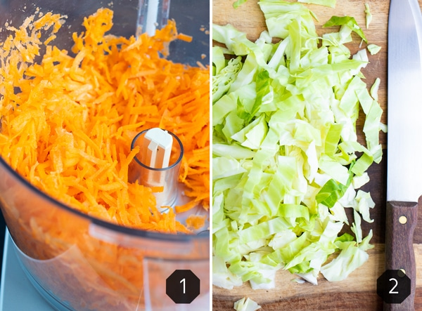 Shredded carrots in a food processor and thinly sliced cabbage on a wooden cutting board.