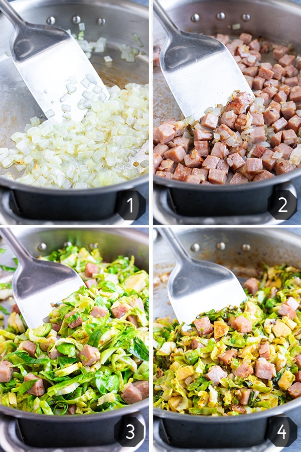 A collage of images showing you how to sauté Brussels sprouts with cubed leftover ham.