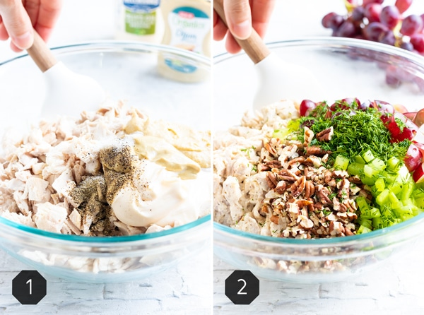 Two photos showing how to make a chicken salad recipe with grapes and pecans.