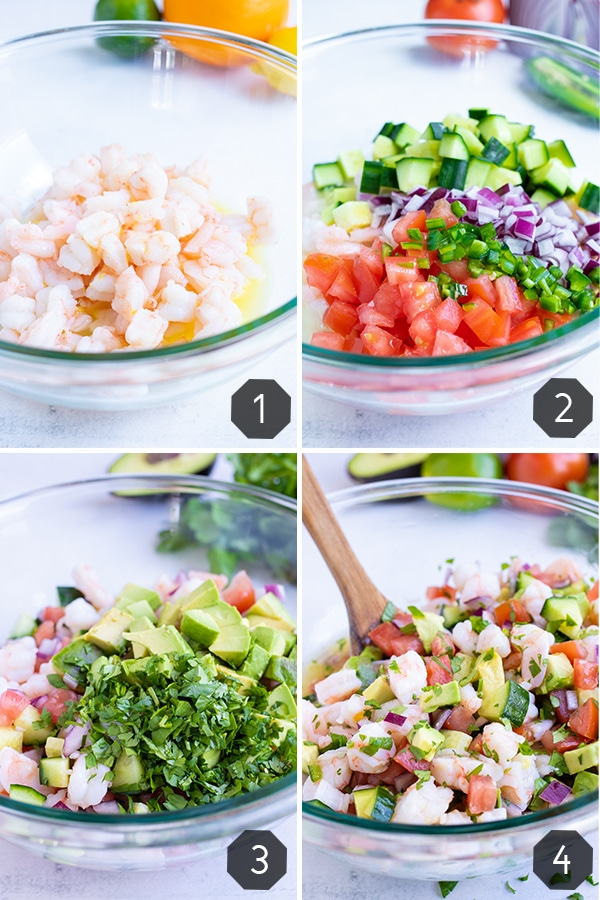 Four images showing how to make Mexican shrimp ceviche with avocado and cilantro.