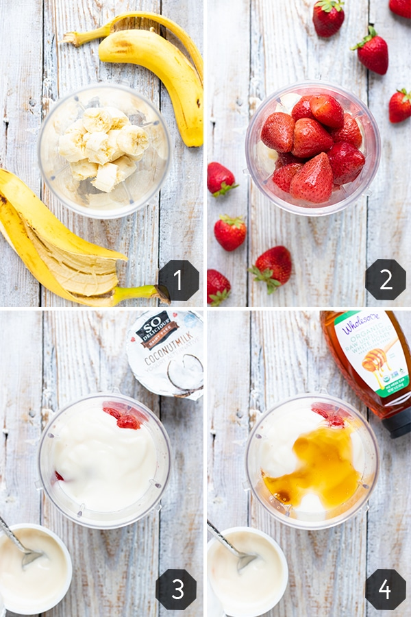 Four images showing how to make a strawberry banana smoothie recipe in a blender.