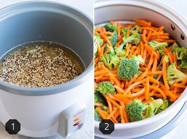 Two images showing how to cook quinoa in a rice cooker and how to steam vegetables in a rice cooker.