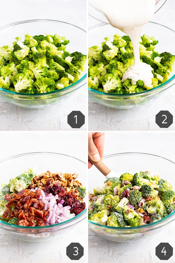 Four images showing how to make broccoli salad with bacon and cranberries.