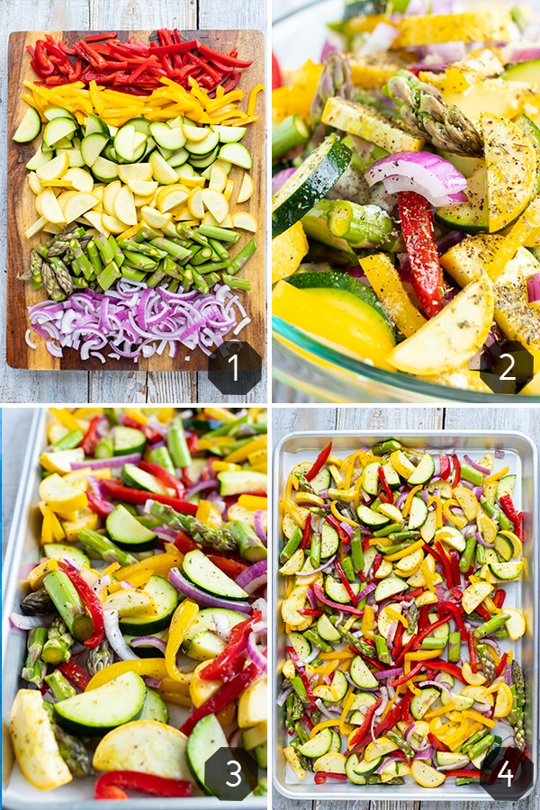 Squash, bell pepper, asparagus, and red onion on a cutting board, in a glass bowl, and on a baking sheet to make roasted vegetables for a pasta dish.