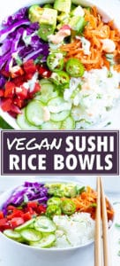 Deconstructed sushi bowl recipe with avocado, cabbage, carrots, cucumber and sauce drizzled on top.