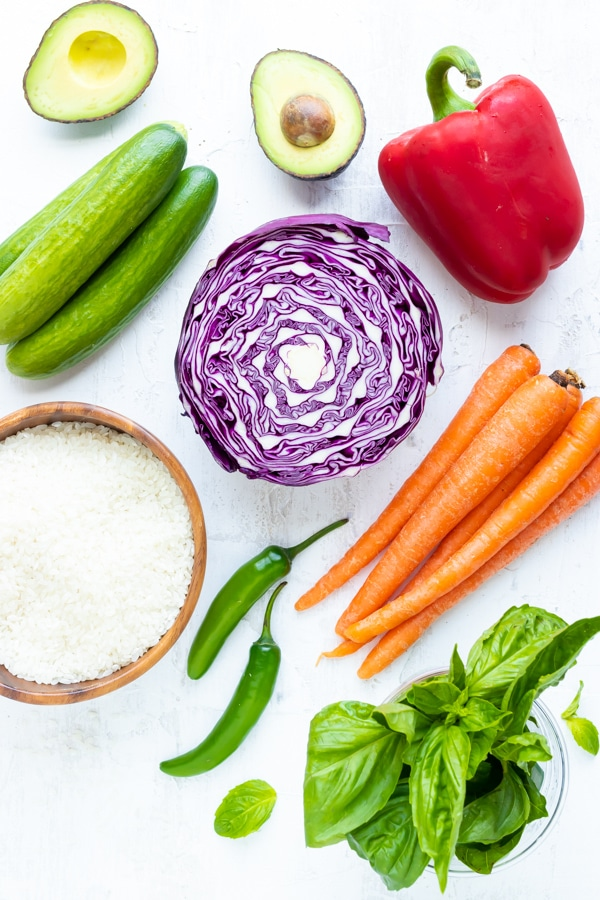 Ingredients in a sushi bowl recipe on a white background.