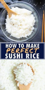 A bowl full of cooked sushi rice with a wooden spoon scooping some out.