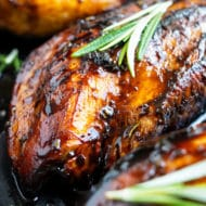 Juicy chicken breast recipe that is covered in a honey balsamic glaze.