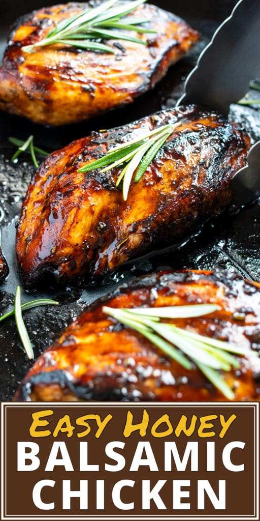 A cast-iron skillet with balsamic glazed chicken being cooked in it.