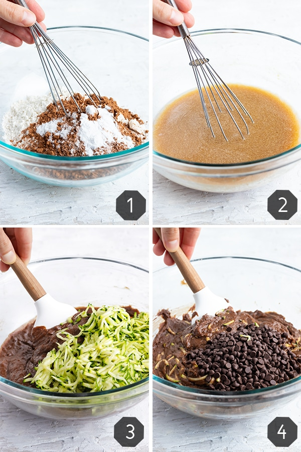 Four images showing how to make chocolate zucchini bread with chocolate chips.