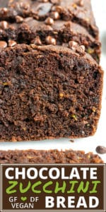 A close-up of super moist and rich chocolate zucchini bread that is gluten-free and vegan.