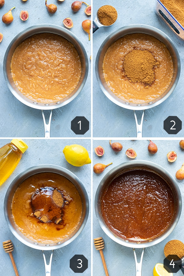 A collage showing how to make fig jam in a saucepan with honey.