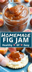 A silver spoon scooping out a serving of homemade fig jam from a glass mason jar.