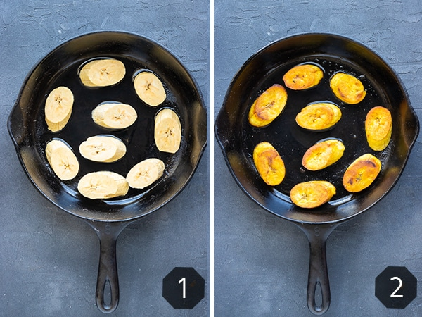 Two images demonstrating how to cook and fry plantains in a cast-iron skillet.