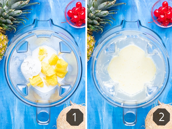 Two images showing how to make a pina colada in a vitamix or blender at home.