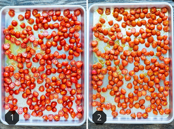 A before and after image of oven-roasted cherry tomatoes on a baking sheet.