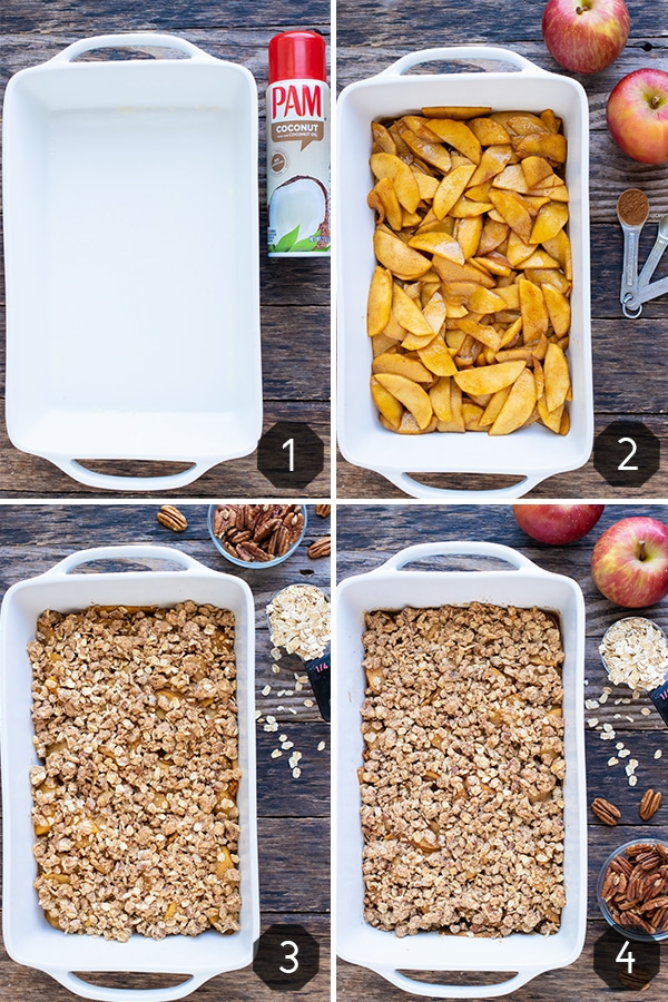 Four images showing how to make apple crisp with a crumb topping that is baked in the oven.