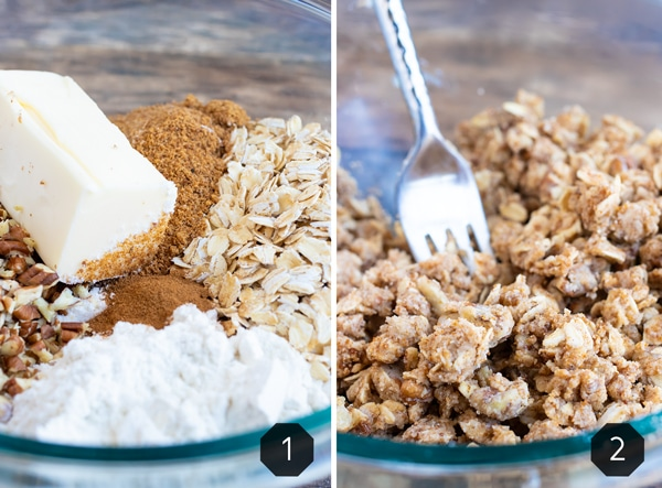 Butter, sugar, flour, and oats in a bowl being mixed with a fork for an apple crisp topping.