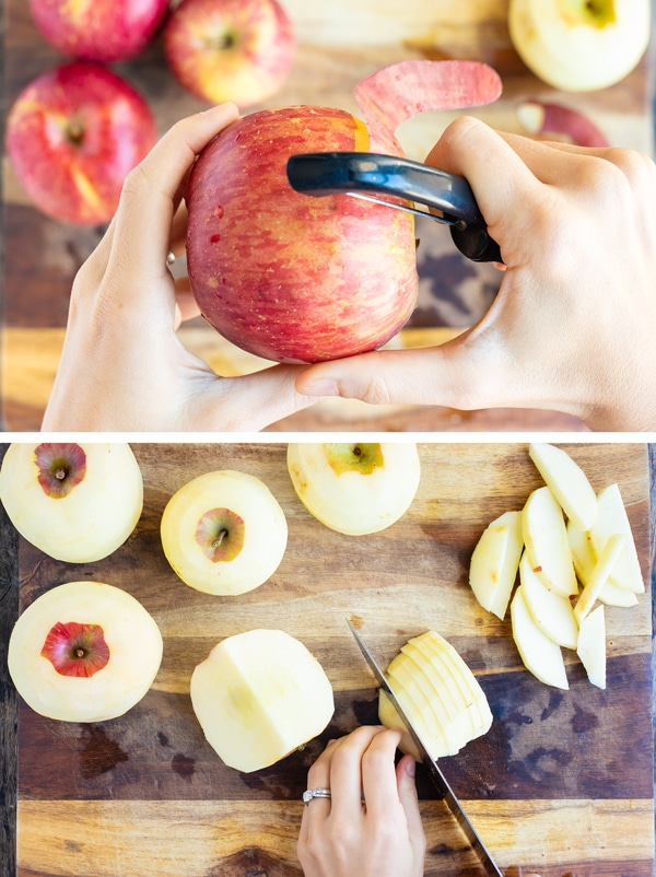 Two images showing how to peel and slice apples for an apple crisp recipe.