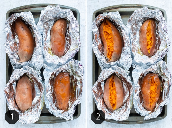 Two images showing how to bake sweet potatoes in the oven wrapped in foil.