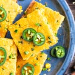 Jalapeño slices on top of the best cornbread recipe.