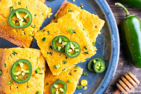 Jalapeño slices on top of the best cornbread recipe.