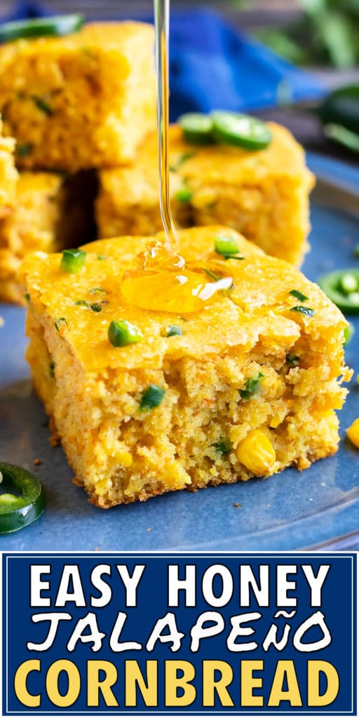 A drizzle of honey being poured on a piece of jalapeño cornbread.