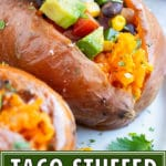 Taco stuffed sweet potatoes with black beans and corn for a vegetarian dinner recipe.