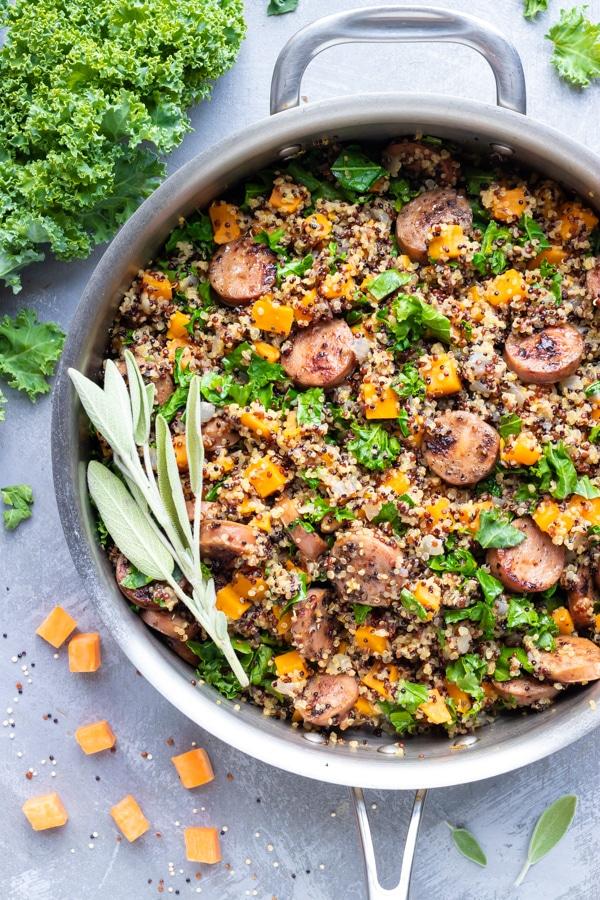 Sausage, Kale and Sweet Potato Quinoa