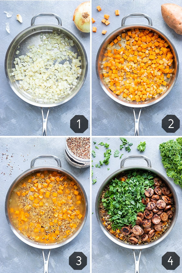 Four images showing how to make a quinoa bowl recipe with sweet potatoes, sausage, kale, and sage.