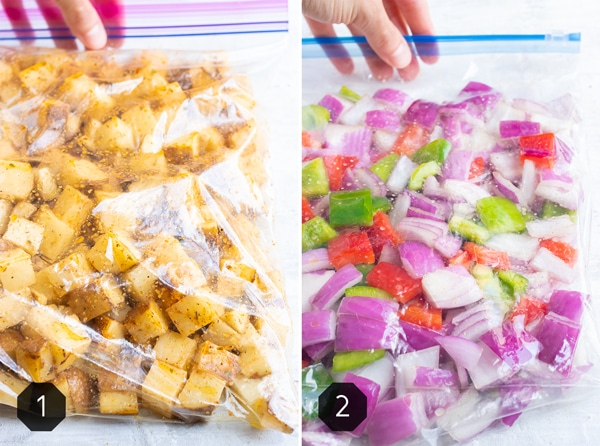 Two ziplock bags with cubed breakfast potatoes and chopped bell peppers and onions.