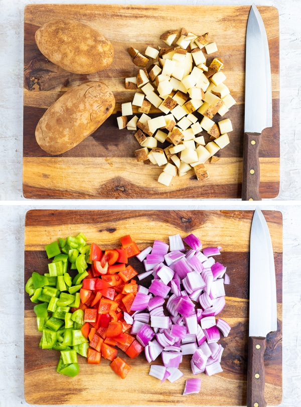 Two images showing how to prep russet potatoes and vegetables for a breakfast hash recipe.
