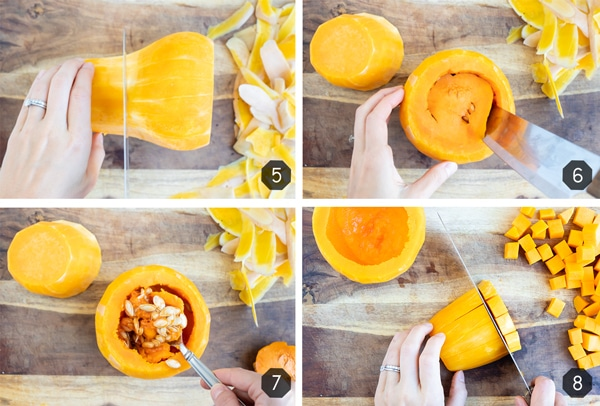 Four images showing how to cut butternut squash and remove the seeds.