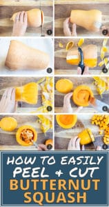 A collage demonstrating how to peel and cut butternut squash by microwaving it.