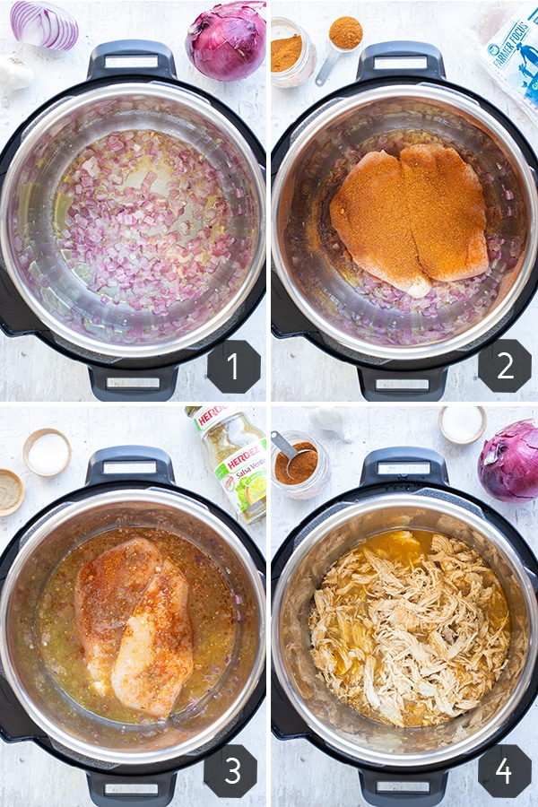 Four images showing how to make Instant Pot shredded chicken with salsa verde.