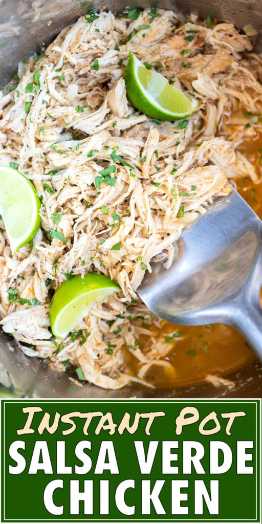 A spatula scooping up Instant Pot salsa chicken.