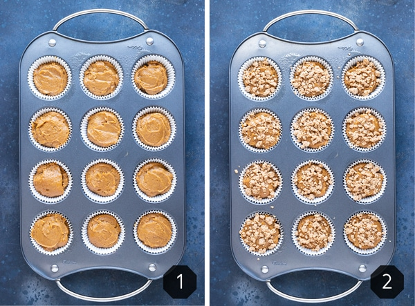 Pumpkin muffin batter in a muffin cup tray before and after being baked in the oven.