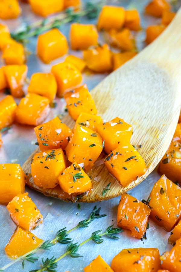 Maple roasted butternut squash cubes for a quick, easy, and healthy butternut squash recipe.