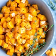 A healthy and easy side dish recipe for maple roasted butternut squash cubes.