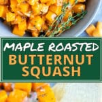 A wooden spatula picking up roasted butternut squash cubes with thyme.