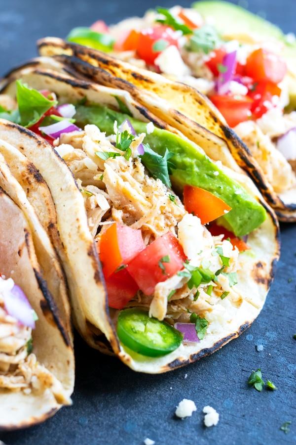 Easy Shredded Chicken Tacos Instant Pot Or Crock Pot Evolving Table