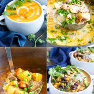 A collage of the best healthy soup recipes with a butternut squash soup, tortilla soup, beef stew, and healthy turkey soup recipe.