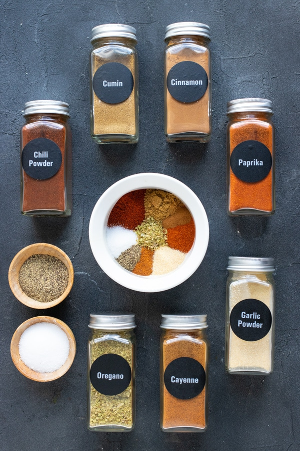The spices that go into a chili seasoning mix recipe.