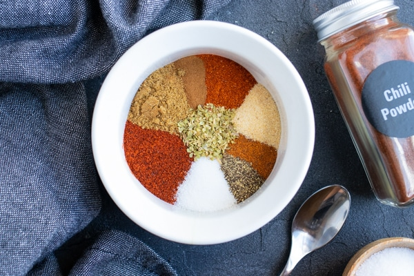 A homemade spice mix for a vegan or ground turkey chili.