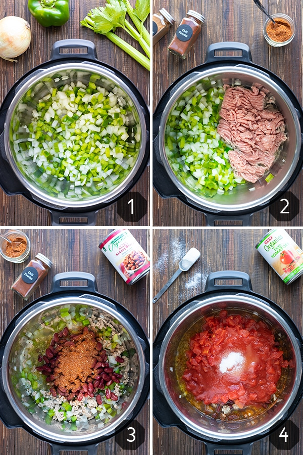Four images showing how to make Instant Pot turkey chili with kidney beans and diced tomatoes.