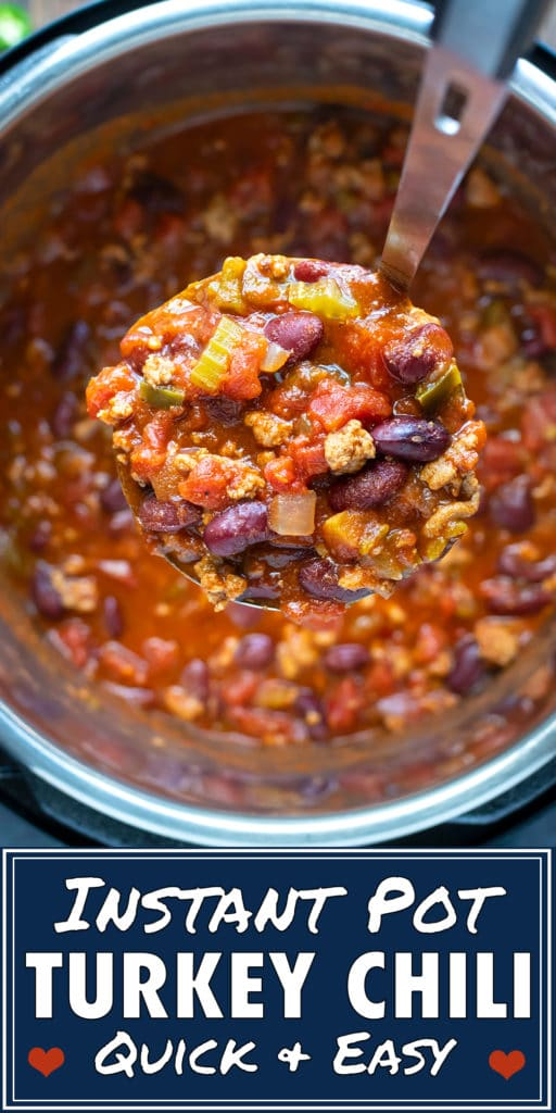 A ladle scooping out a serving of ground turkey chili from an Instant Pot.